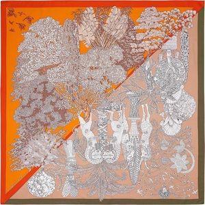 """Hermès Scarf """"Les Legendes De L'arbre Coloriage"""""""